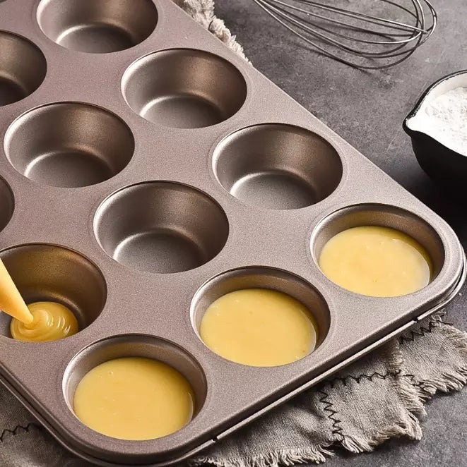 12 Cups DIY Cupcake Baking Tray Tools Non-stick Steel Mold Egg Tart Baking Tray Dish Muffin Cake Mould Round Biscuit Pan ZXH