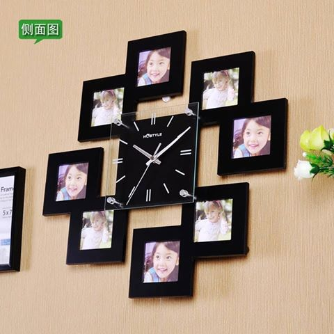 Wooden Wall Clock with 8 Photo Frames - ShopnHob (3549771038800)