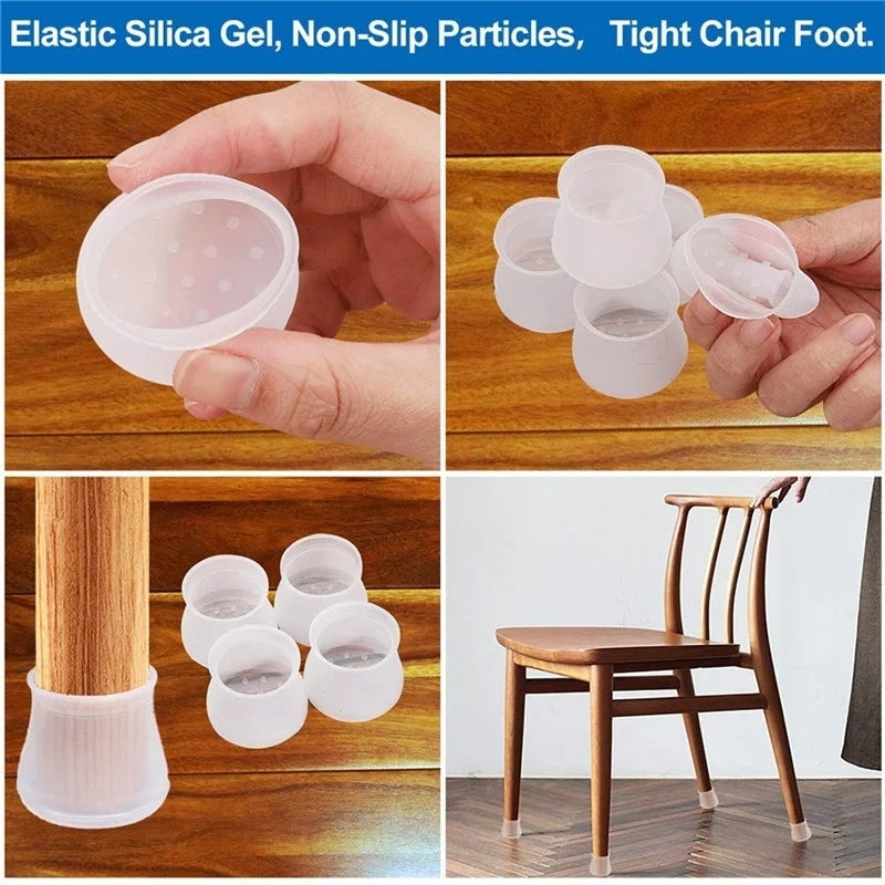 4pcs/set Chair Leg Caps Rubber Feet Protector Pads Furniture Table Covers Socks Hole Plugs Dust Cover Furniture Leveling Feet
