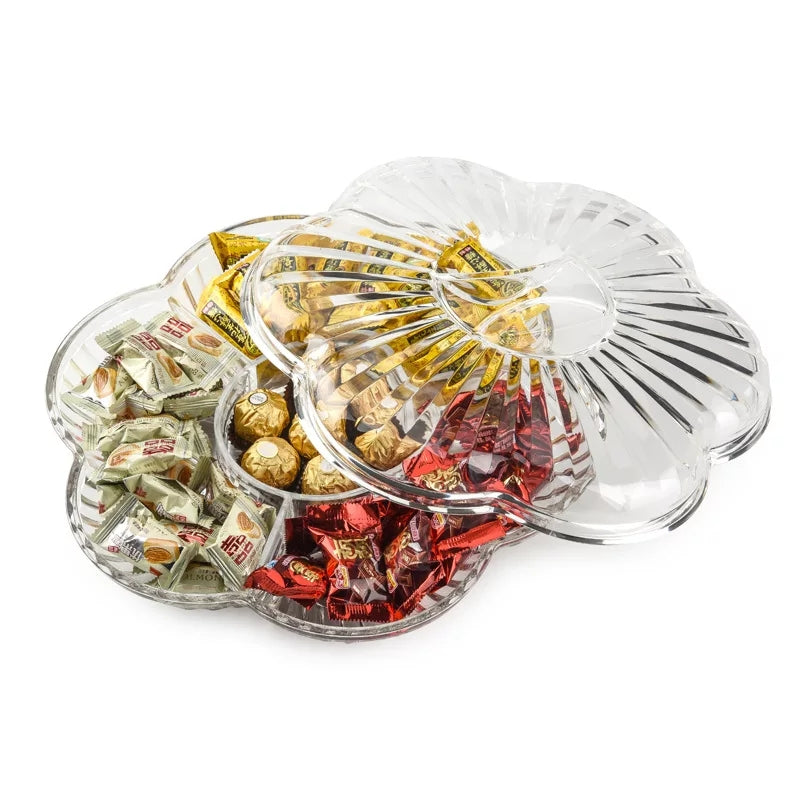 European Acrylic Dried Fruit Plate Compartment with Cover Snack Nuts Dried Fruit Box Transparent Plastic Modern Creative
