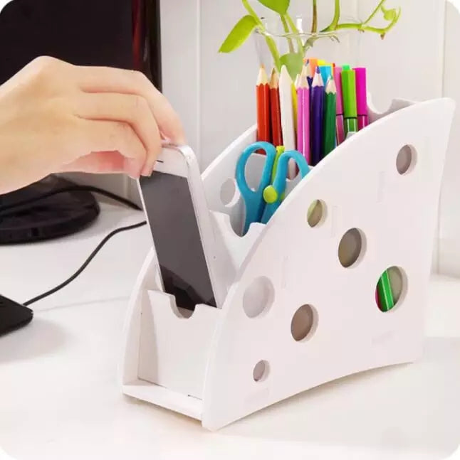 DIY wood 4 slot desktop storage box for remote control VCR Step Mobile Phone Stationery organizer