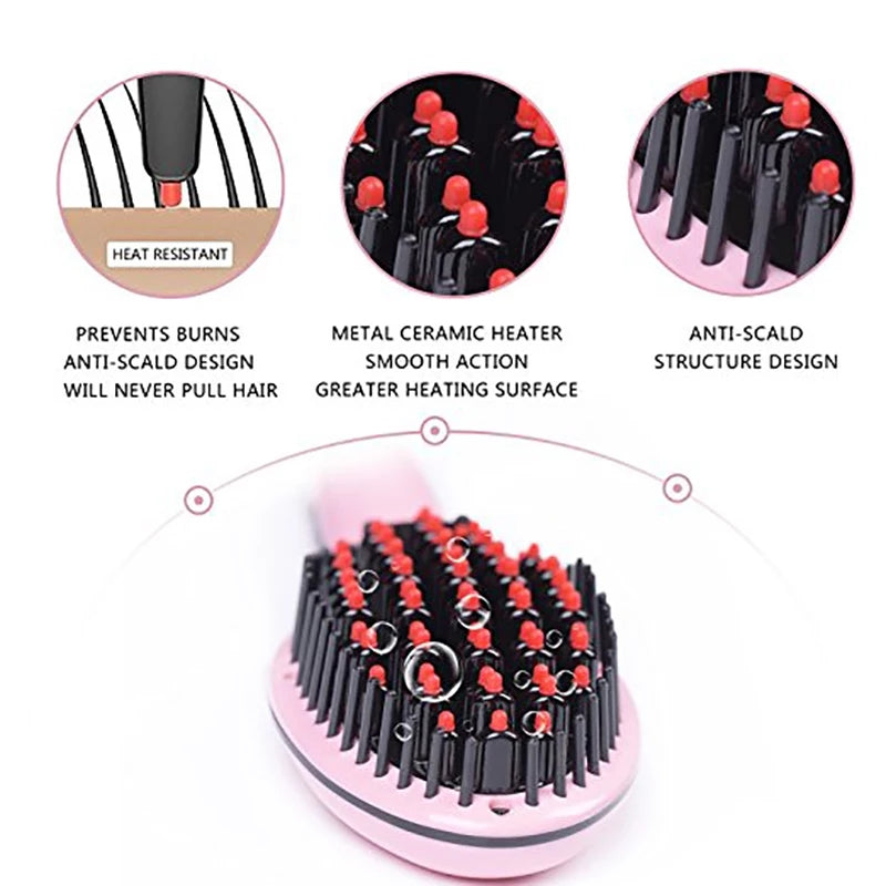 Hair Straightener Brush Ceramic Heating Hair Straightening Brush Temperature Display Anti-scald Effective Hair Comb Pink Color