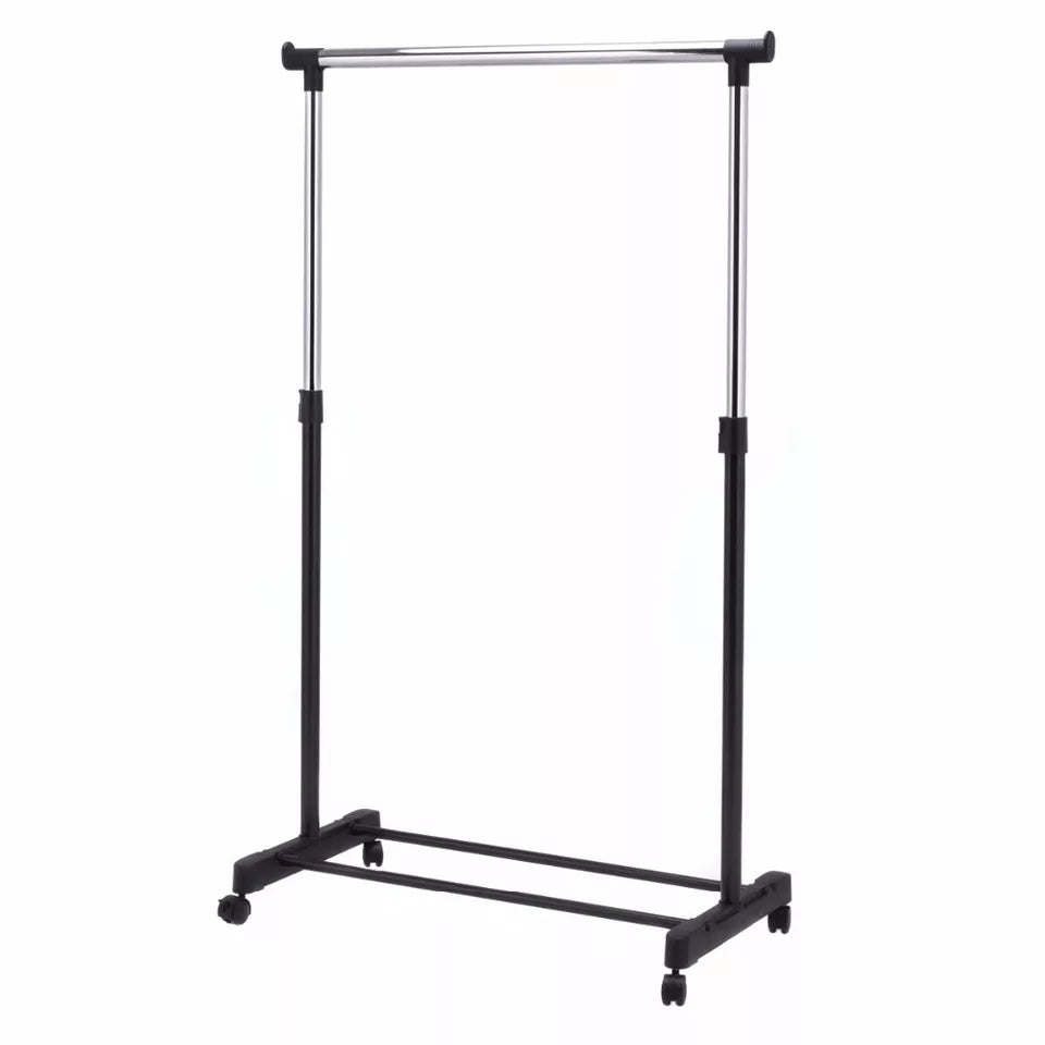 Adjustable Rolling Clothes Hanger Coat Rack Floor Hanger Storage Wardrobe Clothing Drying Racks With Shoe Rack - ShopnHob