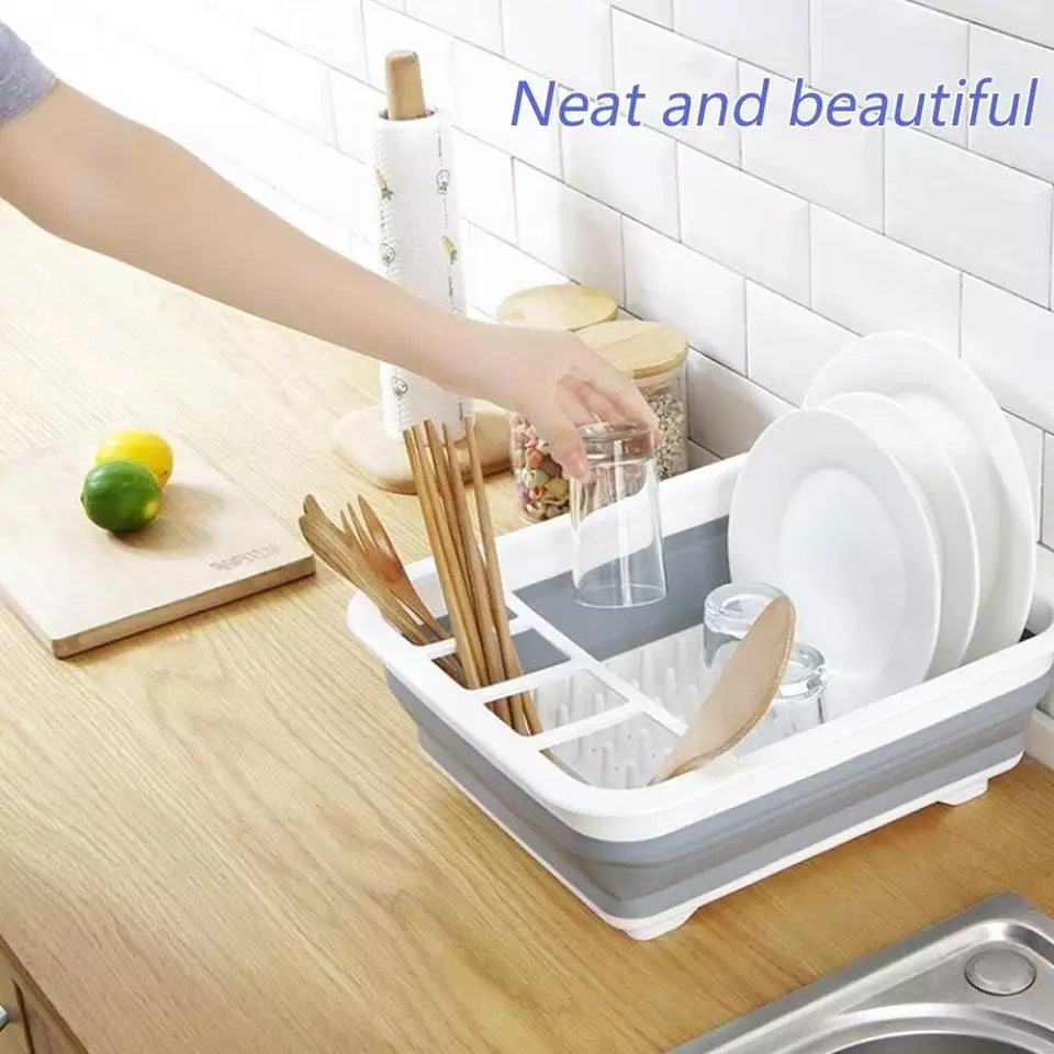 Silicone Folding Dish Rack Home Kitchen Organizers Storage Shelf Plate Dish Drainer Bowl Cup Spoon