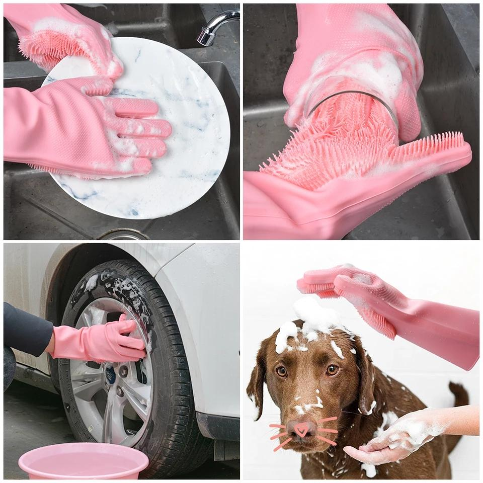 Magic Silicone Cleaning Gloves for Washing Dishes Dusting Dish Washing Gloves Cleaning Tableware Washing-up Kitchen Gloves - ShopnHob (3604407976016)