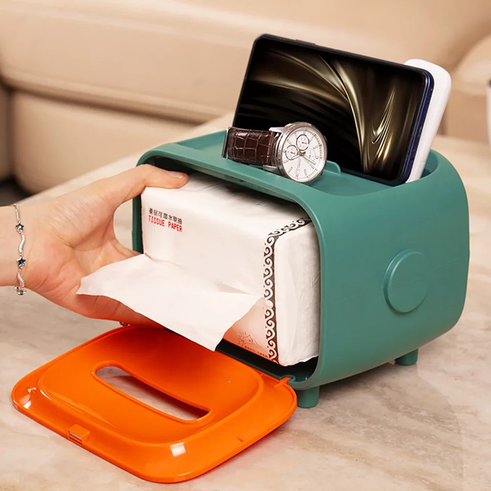 Space Saving Office Desk Mobile Phone Remote Control Box  Tissue Case Box Container Home Compartment Table Decoration