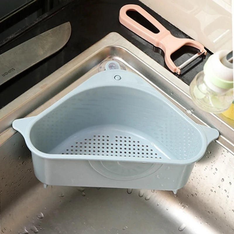 Multifunctional Corner Sink Drain Rack Shelf Suction Cup Sink Drain Basket Bowl Sponge Holder Kitchen Bathroom Storage Organizer