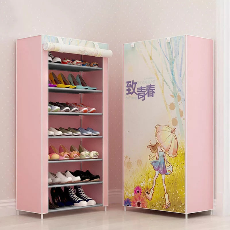 New Shoe cabinet 8-layer 7-grid 3D drawing Non-woven fabrics large Shoe rack organizer removable shoe storage for home furniture