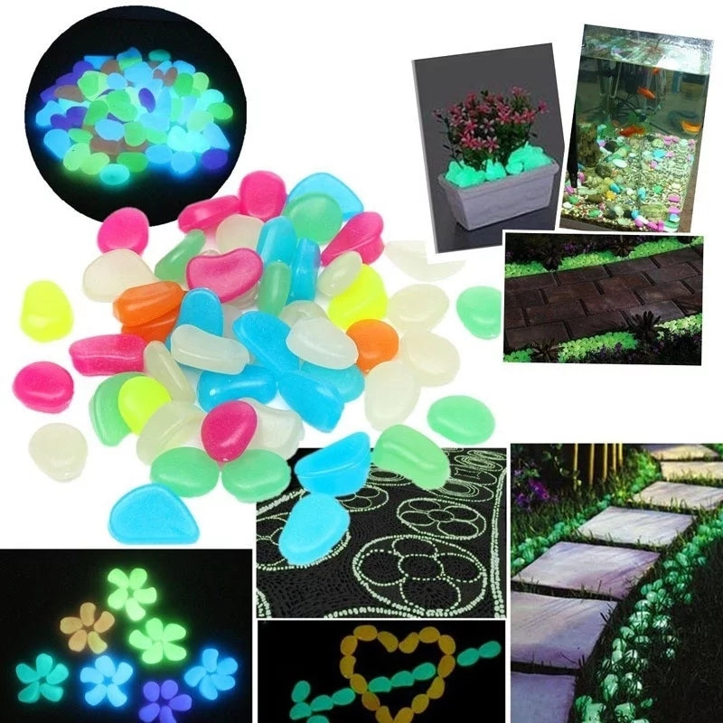 Glow Pebbles Stones 75Pcs Home Fish Tank Outdoor Decor Garden Stones Luminous Glowing In The Dark