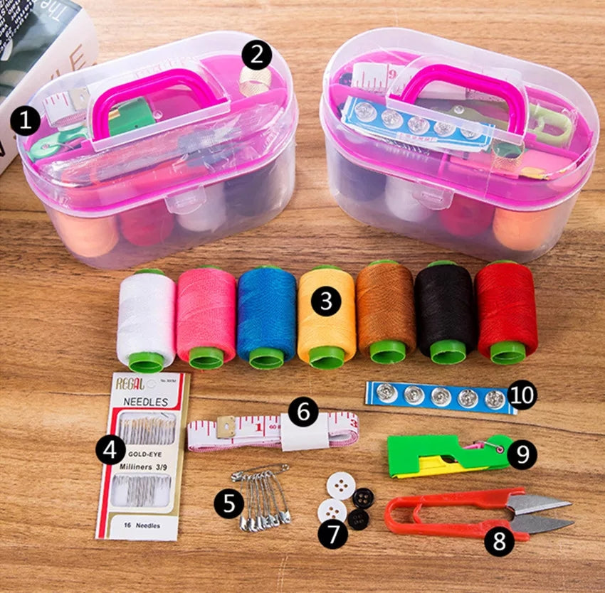 Sewing Kit Tool Storage Box Needle Thread Scissor Organizer Medicine Container Storage Box organizer - ShopnHob