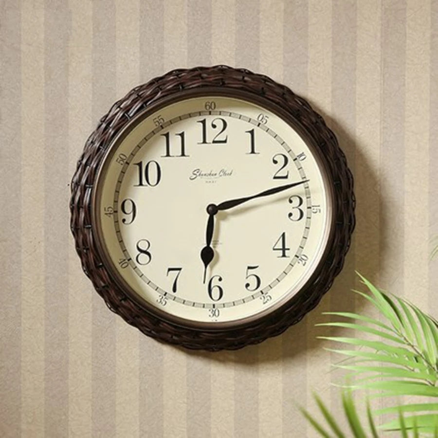 Bamboo Wall Clock Antique Design - ShopnHob (3553895612496)