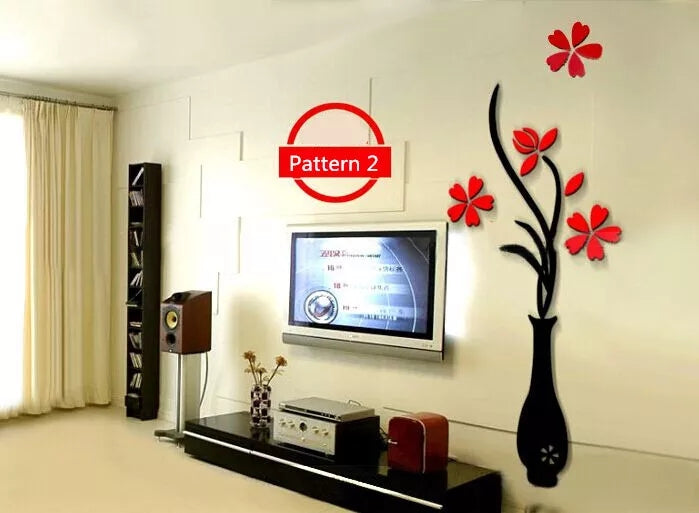 Colorful Multi-Pieces Flower Vase 3D Acrylic Decoration Wall Sticker DIY Art Wall Poster Home Decor Bedroom Wallstick