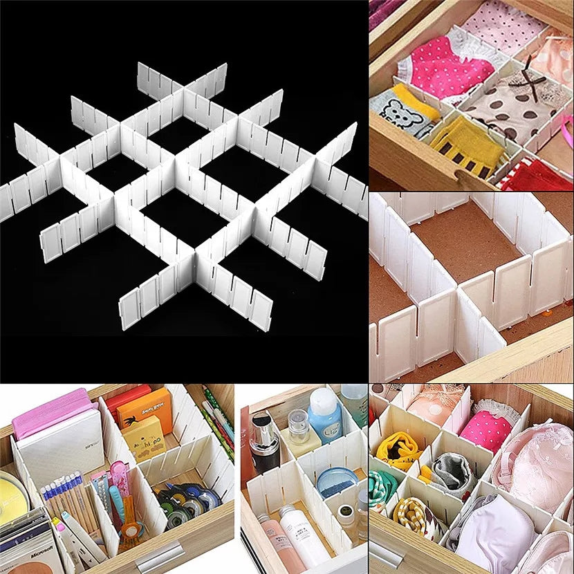 6Pcs DIY Practical Plastic Grid Drawer Divider Household Office Necessities Storage Organizer - ShopnHob (3595586306128)