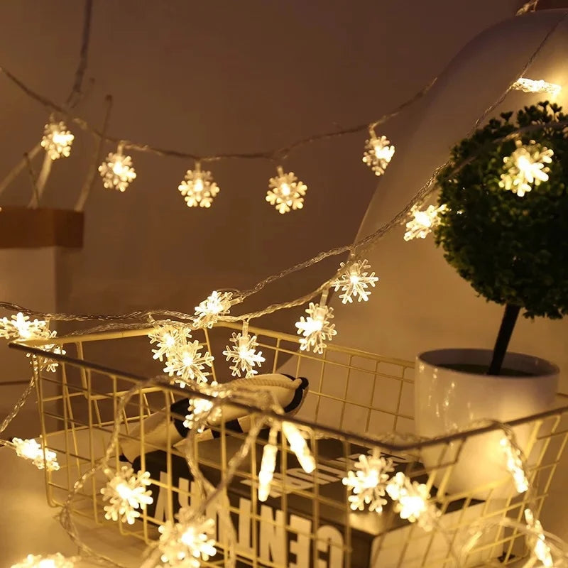 20LED 3M String Fairy Lights Battery Power Snowflake Christmas Tree Party Home Decor