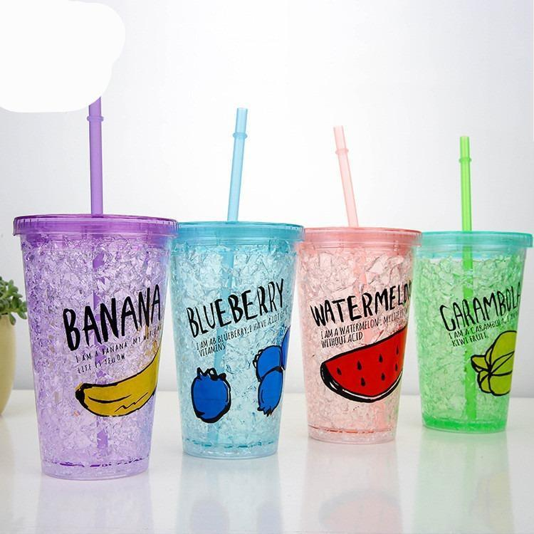 Glitter Double Freeze Ice Glass With Jel Inside - ShopnHob