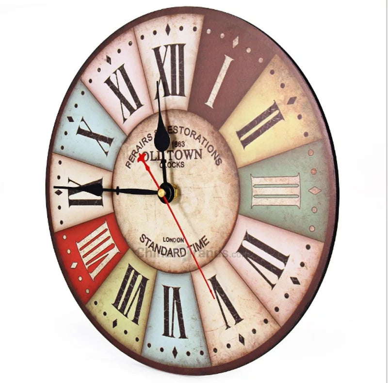 Vintage Colorful France Paris French Country Tuscan Clock Retro Style Arabic Numerals Design Non -Ticking Silent Wall Clock - ShopnHob (3603399376976)