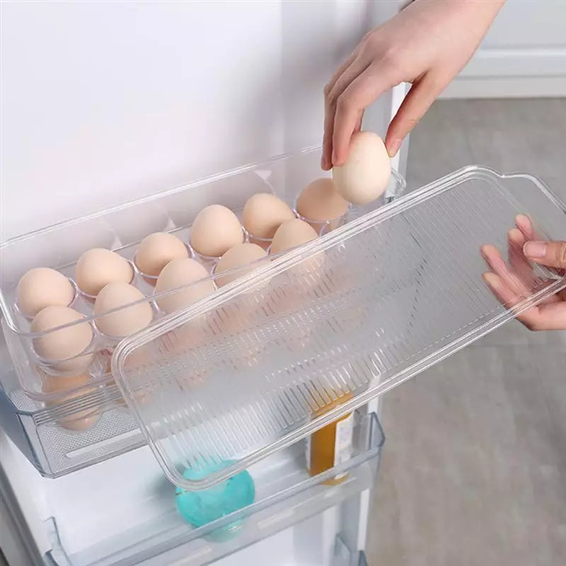 12 Egg Tray Holder With Lid Transparent Plastic