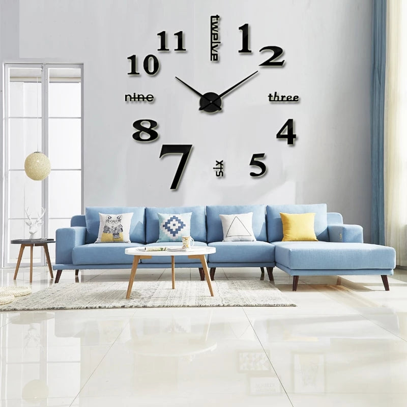 3D retro Wall Clock Wall Sticking DIY Clock Alphabet Numeric Digits - ShopnHob (3596865634384)