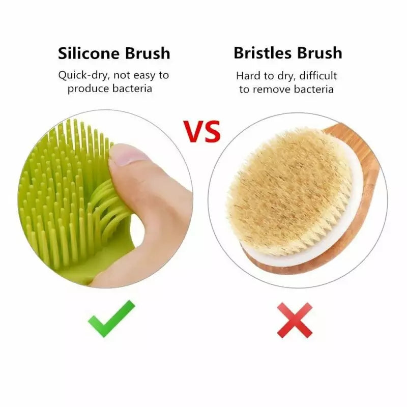 Brush Scrubber with Long Handle Healthy Skin Care Bathroom Shower Accessories for Men and Women Silicone Back Body Bath