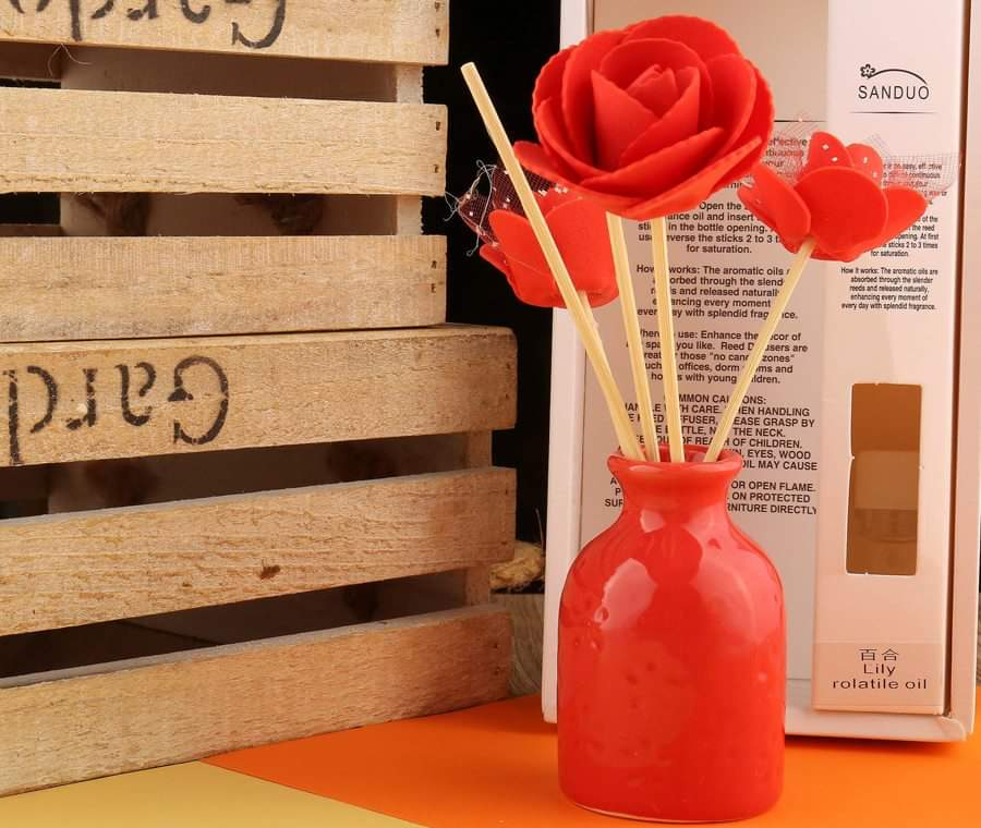 50ML Perfume Reed Diffuser Ceramic Bottle With Rattan Stick Cinnamon - ShopnHob (3554652323920)