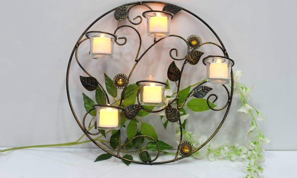 Metallic Wall Hanging Big Round Candle Holder