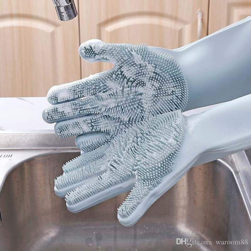 Magic Silicone Cleaning Gloves for Washing Dishes Dusting Dish Washing Gloves Cleaning Tableware Washing-up Kitchen Gloves