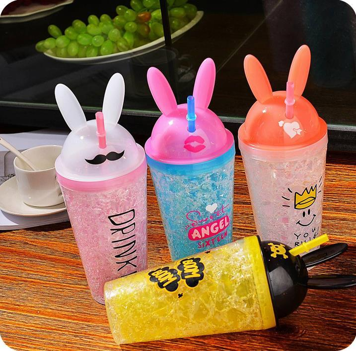 Rabbit Ears Creative Summer Ice Bottle With Straw - ShopnHob