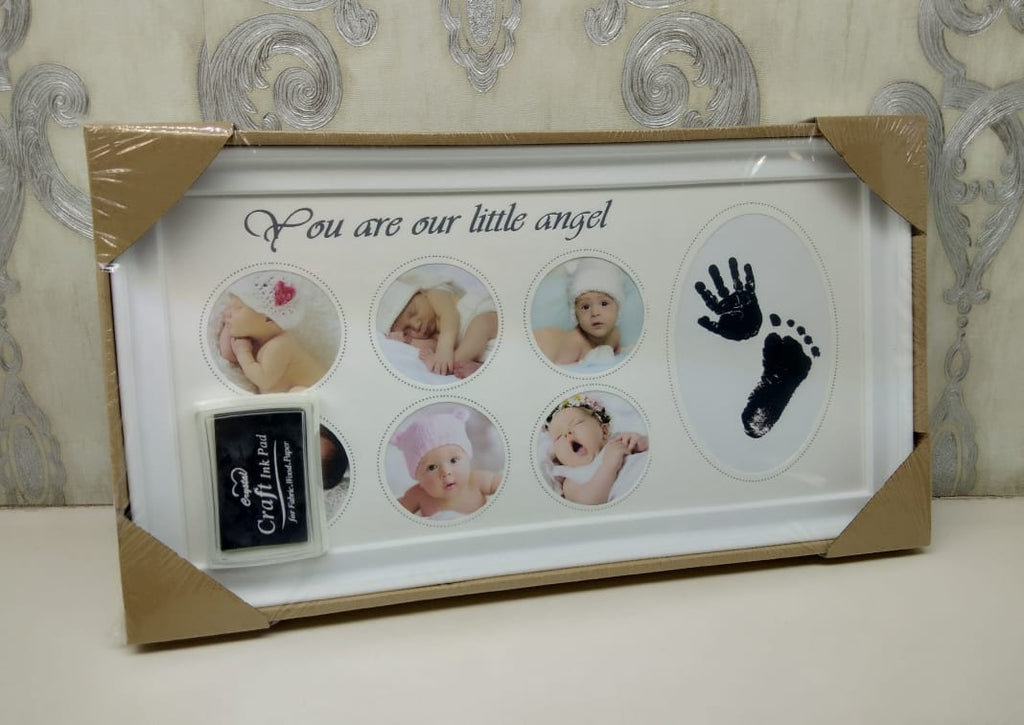 Baby Picture Frame Newborn Baby Handprint Footprint with Non-Toxic Ink Pad Wall Photo Frame Baby Birthday Gift - ShopnHob (3619566714960)