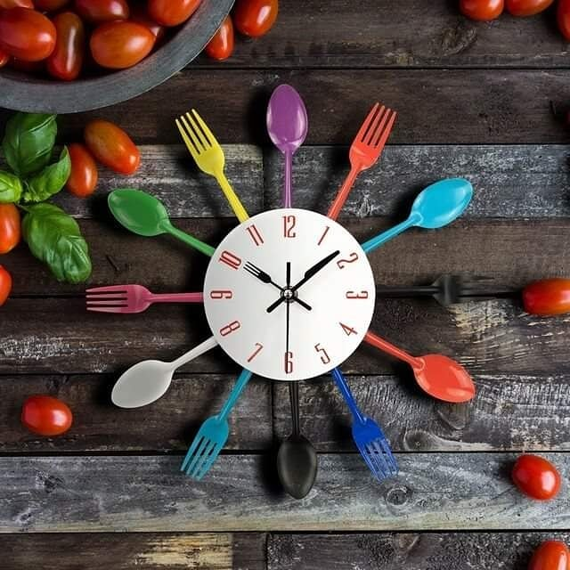Modern Creative Design Stainless Steel Sheel Colorful Fork n Spoon Design Wall Clock - ShopnHob