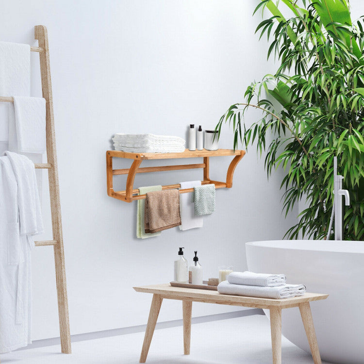 Wooden Large Storage Space with a Shelf and Towel Rack