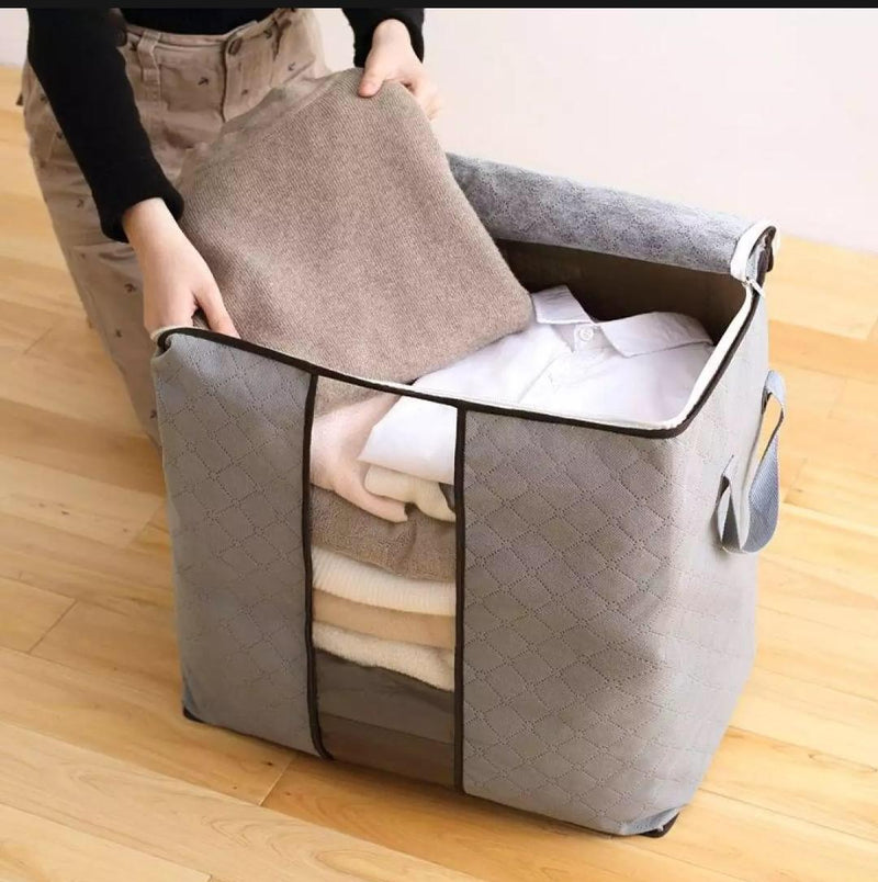 Large Non-woven Portable Clothes Storage Bag Clothing Organizer for Pillow Blanket Quilt Bedding Storage Folding Closet Bag