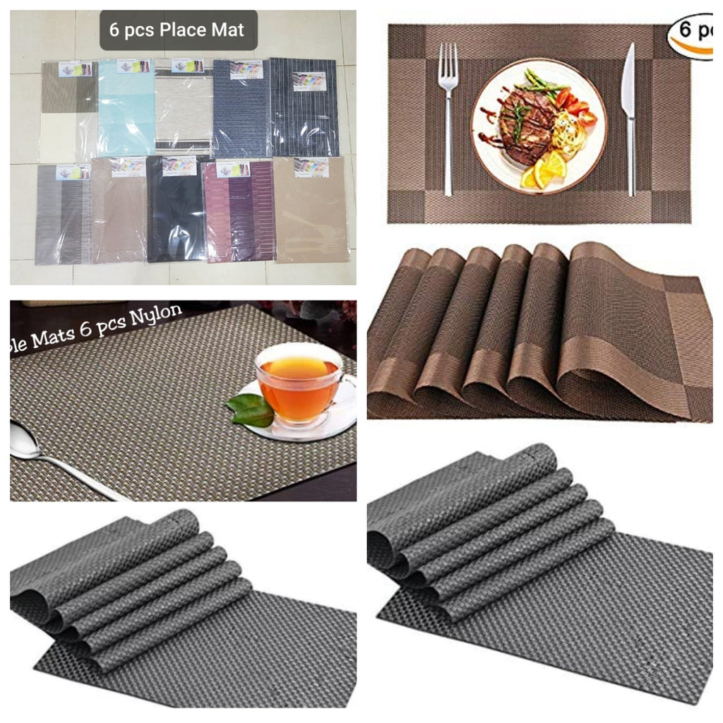 6 Pcs Placemats Washable PVC Table Cloth Pad Mat Tablemats Stain-Resistant Dining Disc Bowl Pad Coaster Non-slip PVC Pad