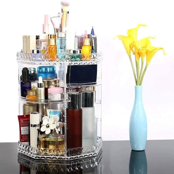 Makeup Cosmetic Rack Holder 360 Degree Rotating Organizer Acrylic Case