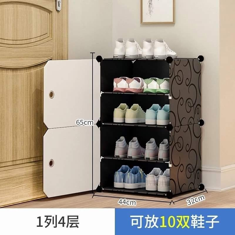 Shoe Rack Household Simple Economic Assembly Dormitory Dust-proof Multilayer Plastic Door Small Shoe Cabinet Storage Artifact