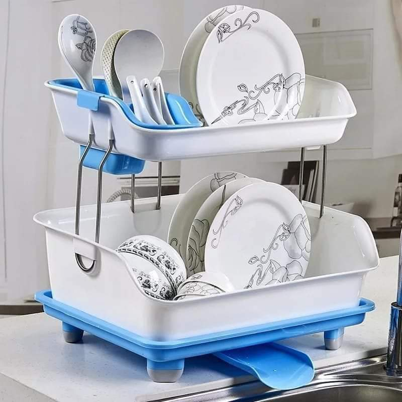 Double-layer large capacity drain rack dish rack sink pool tableware kitchen supplies dish storage rack