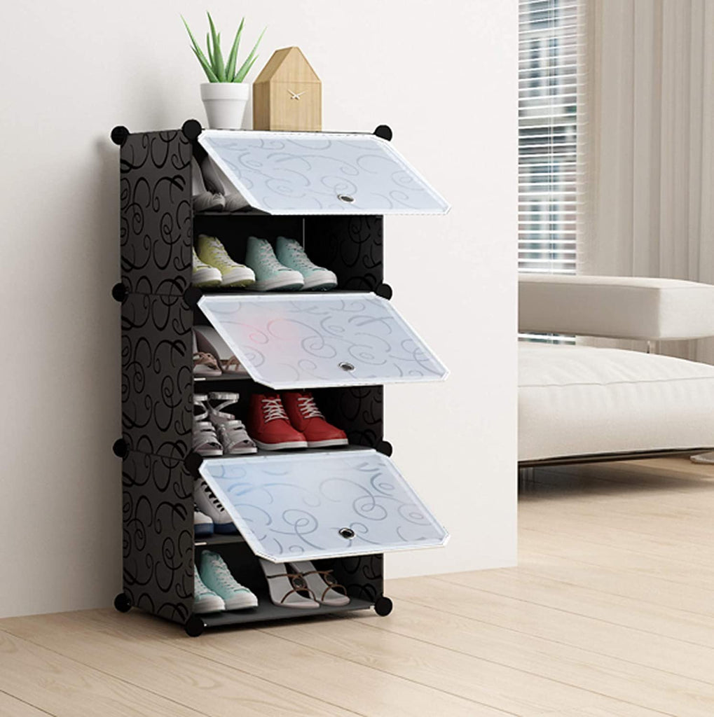 Shoe Rack Pipe Black & White Easy to install home Shoe cabinet Shelf Storage Organizer Stand Holder Space Saving