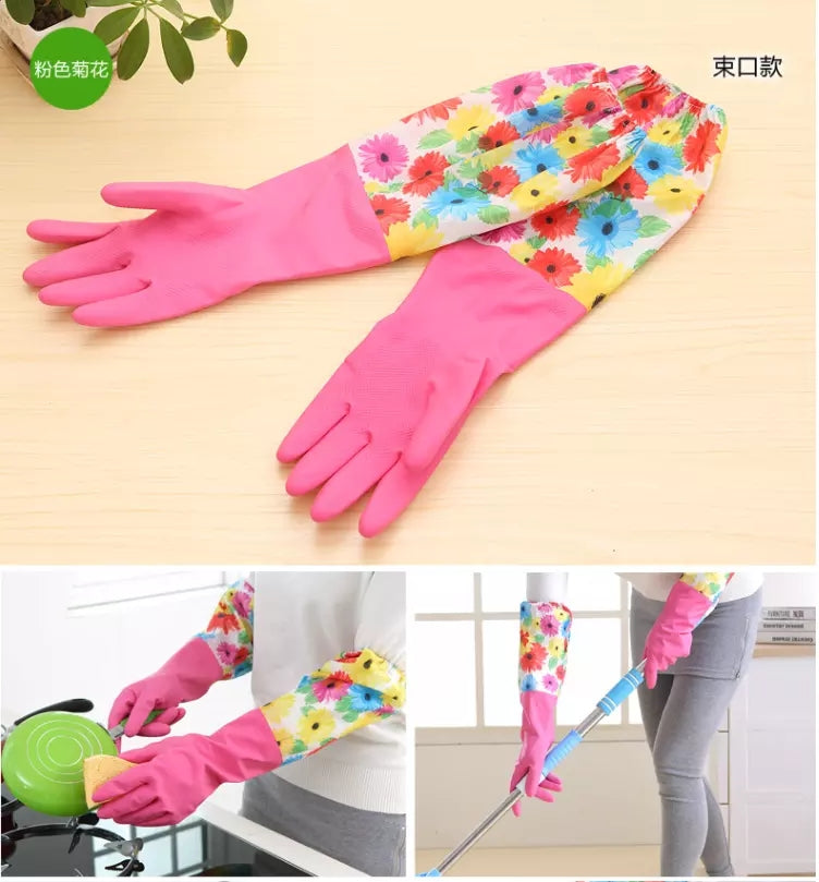 Kitchen Silicone Long Cleaning Gloves Magic Silicone Dish Washing Gloves For Household Silicone Scrubber Rubber Dishwashing Gloves
