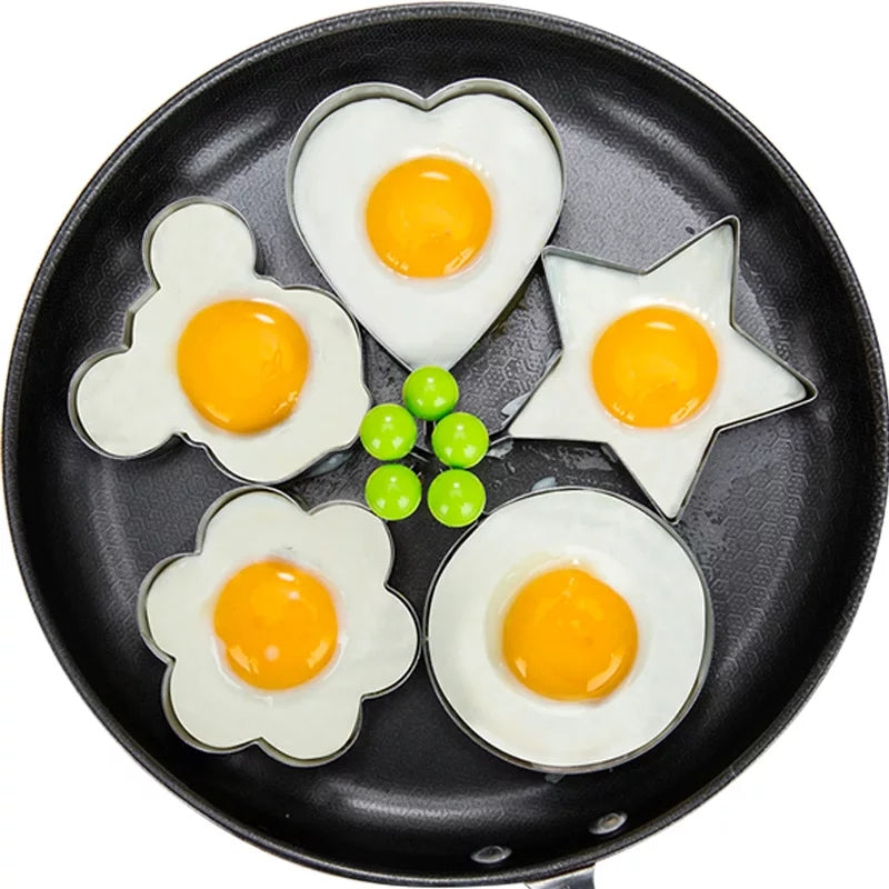 4 Style Egg Pancake Rings Fried Egg Pancake Shaper Omelette Mold Mould Frying Cooking Tools Kitchen Accessories Gadget Rings