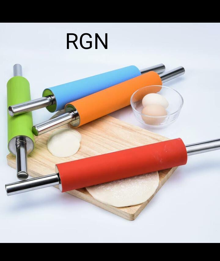 1Pcs Metal Handle Fodant Rolling Pin Silicone Rolling Pin Fondant Cake Non-stick Dogh Roller Cake Tools