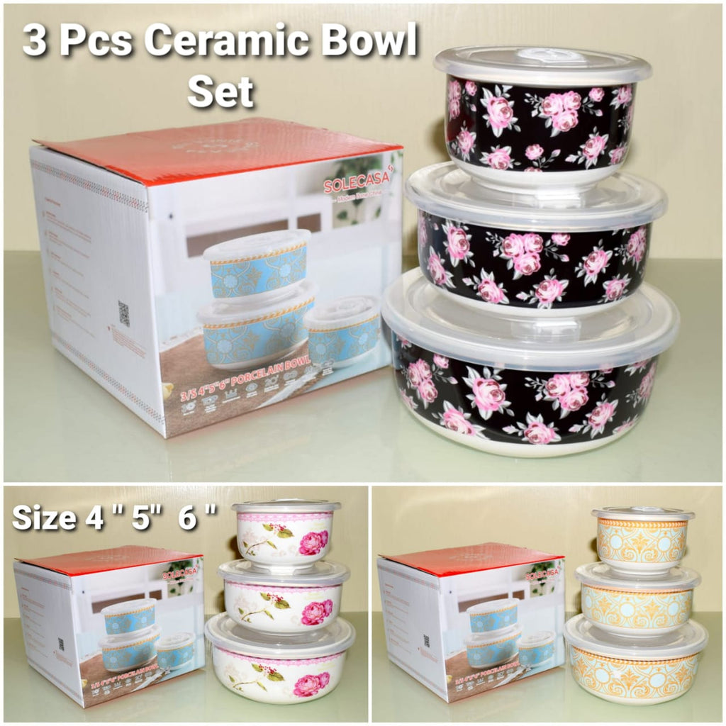 3 Pcs Ceramic Porcelain Bowl Set