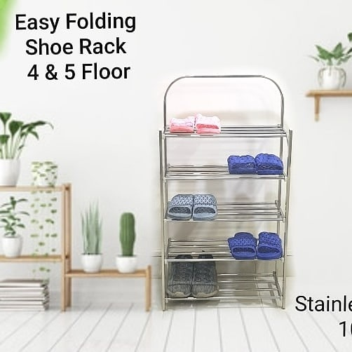 Stainless steel shoe rack multilayer slippers shelf storage shoe cabinet assembly dormitory bedroom economic thickening