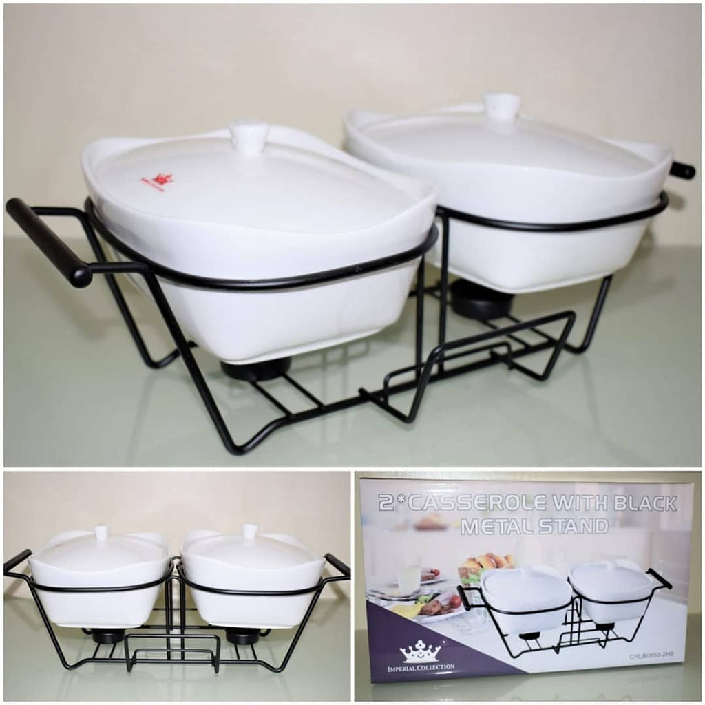 2 pcs Casserole with black stand