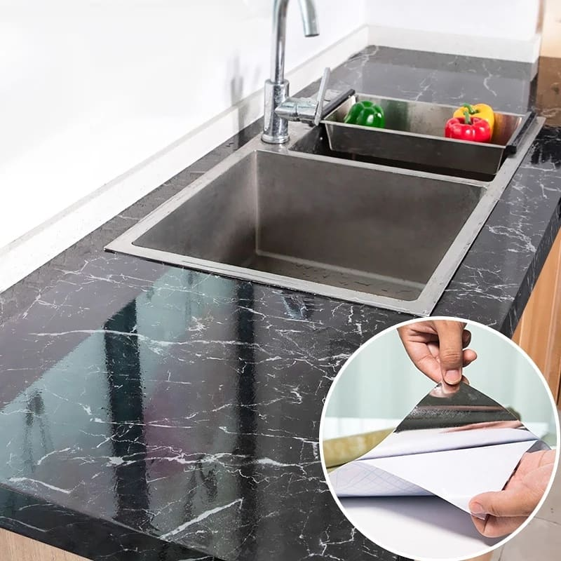 Marble pattern kitchen greaseproof wall sticker waterproof and high temperature resistant home decoration