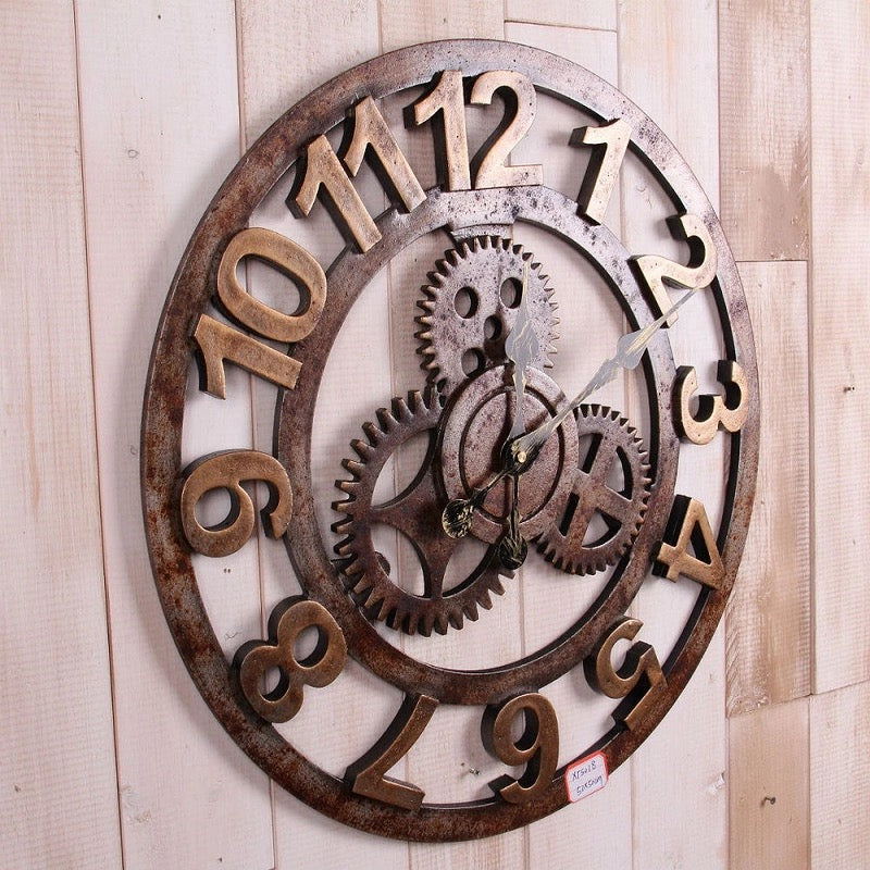 Big Size Wooden Create Gears Number Wall Clock - ShopnHob (3566706065488)