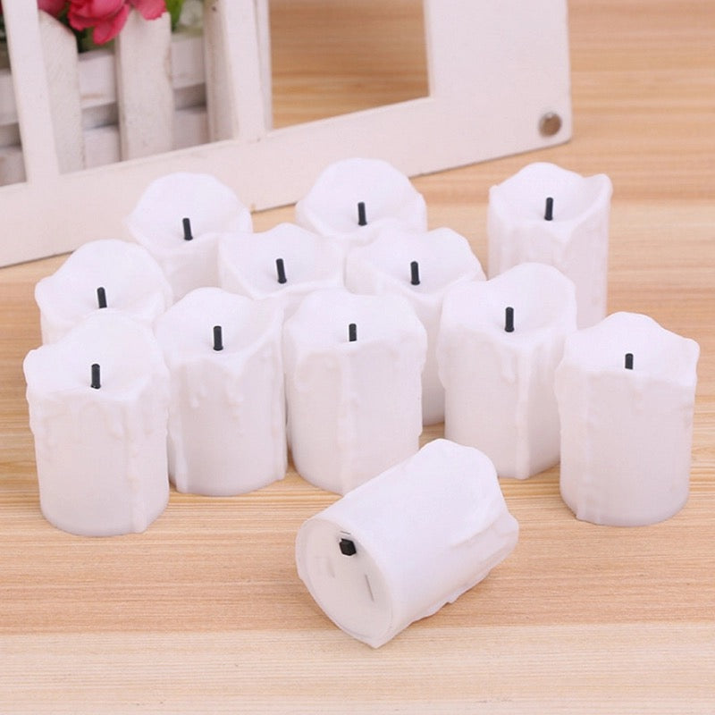 Pack of 12 Wax Led Candles - ShopnHob (3566571225168)