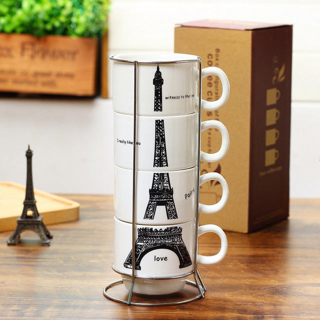 Paris Eiffel Tower Overlaying 4 In 1 Coffee Tea Cup Set - ShopnHob (3547095269456)