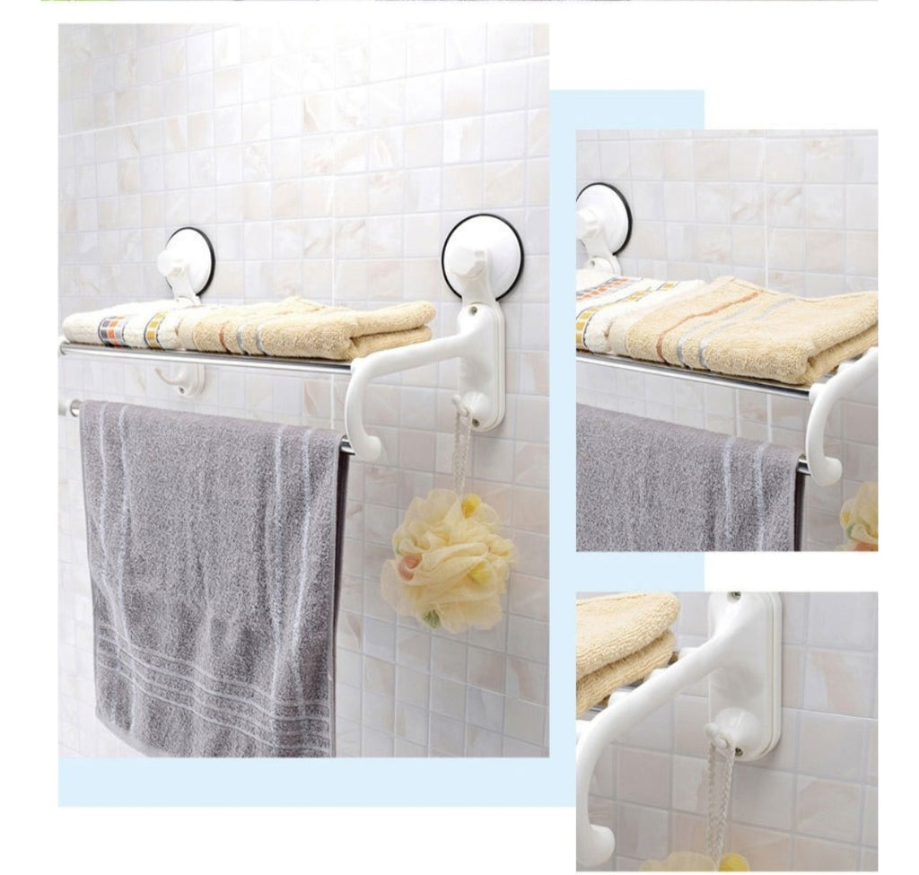 Strong Suction Cup Wall Mounted towel bar with hook bathroom towel rack stainless steel towel shelf House Decoration - ShopnHob (3593274720336)