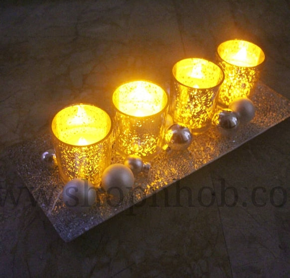 Merry Mercury Silver Candle Tray With Balls - ShopnHob