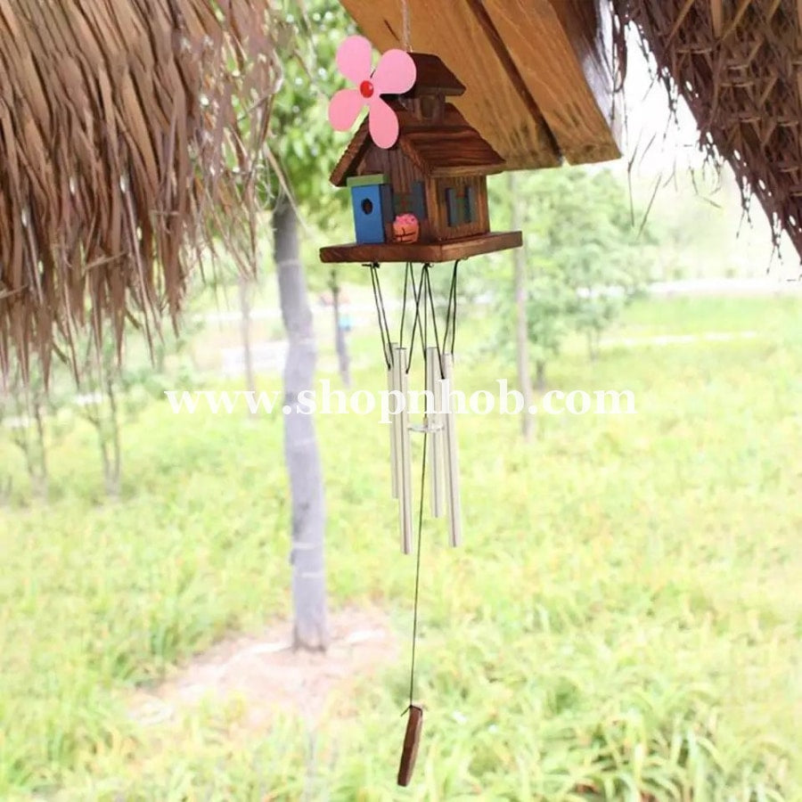 Antique Wooden House Wind Chimes - ShopnHob (3574130671696)