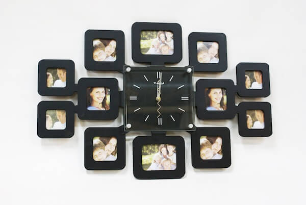 Wooden Wall Clock with 12 Photo Frames - ShopnHob (3551446892624)